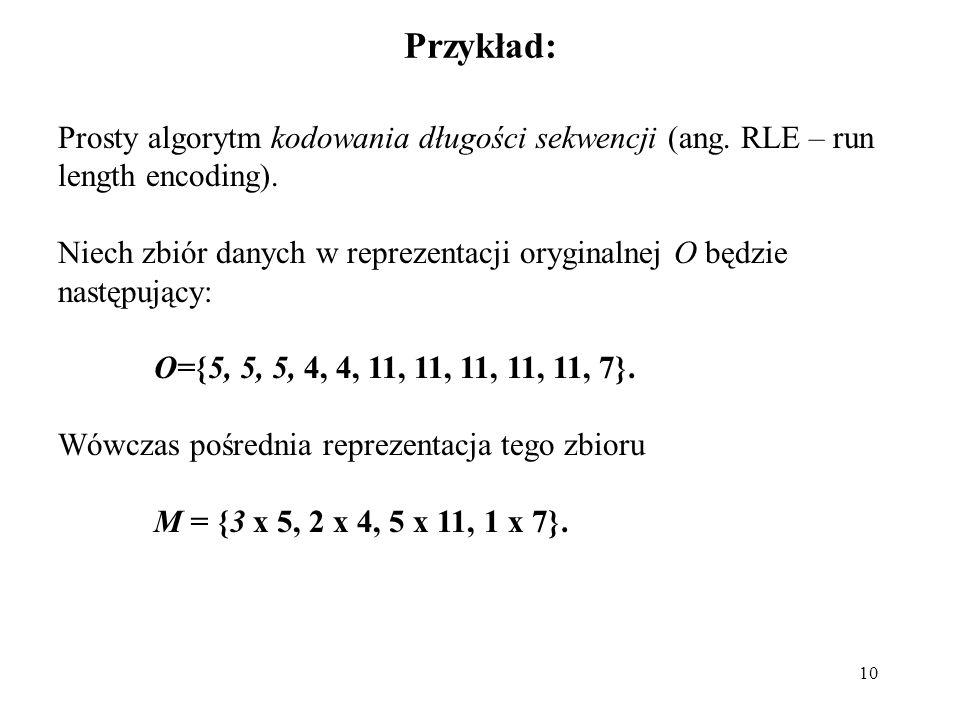 Przykład: Prosty algorytm kodowania długości sekwencji (ang. RLE – run length encoding).