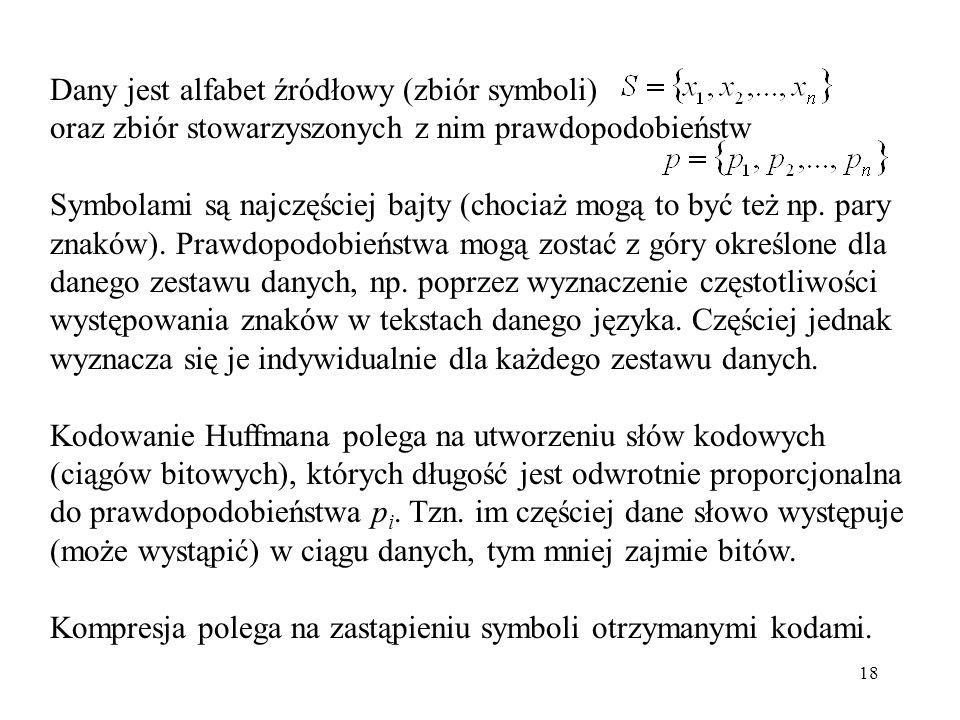 Dany jest alfabet źródłowy (zbiór symboli)