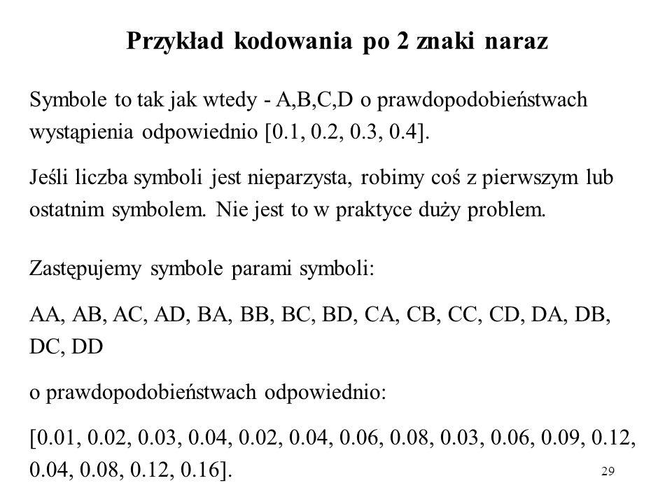Przykład kodowania po 2 znaki naraz