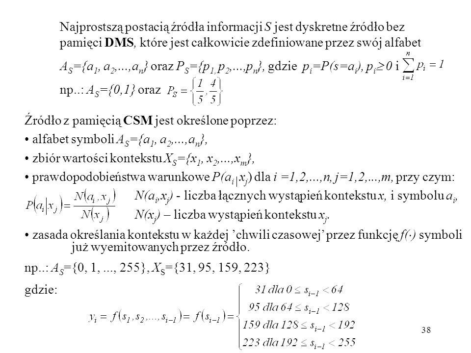 Najprostszą postacią źródła informacji S jest dyskretne źródło bez pamięci DMS, które jest całkowicie zdefiniowane przez swój alfabet