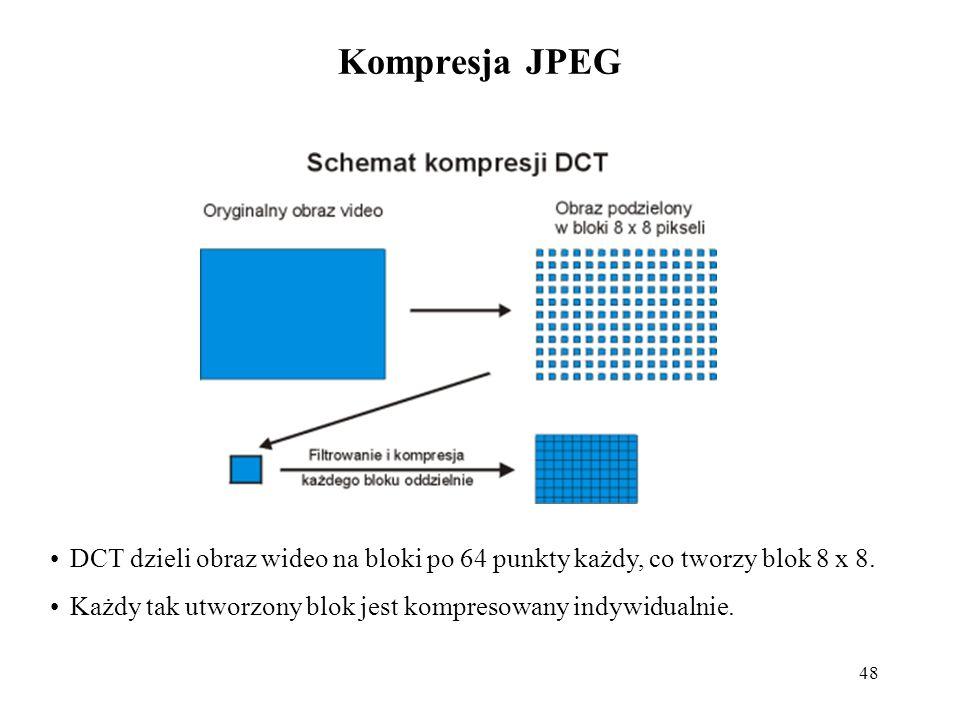 Kompresja JPEG DCT dzieli obraz wideo na bloki po 64 punkty każdy, co tworzy blok 8 x 8.