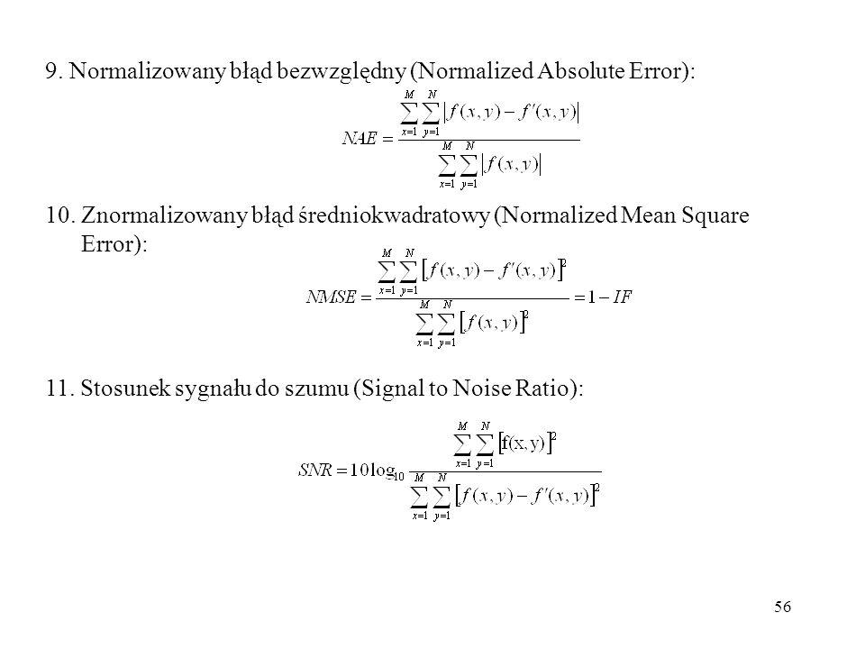 9. Normalizowany błąd bezwzględny (Normalized Absolute Error):
