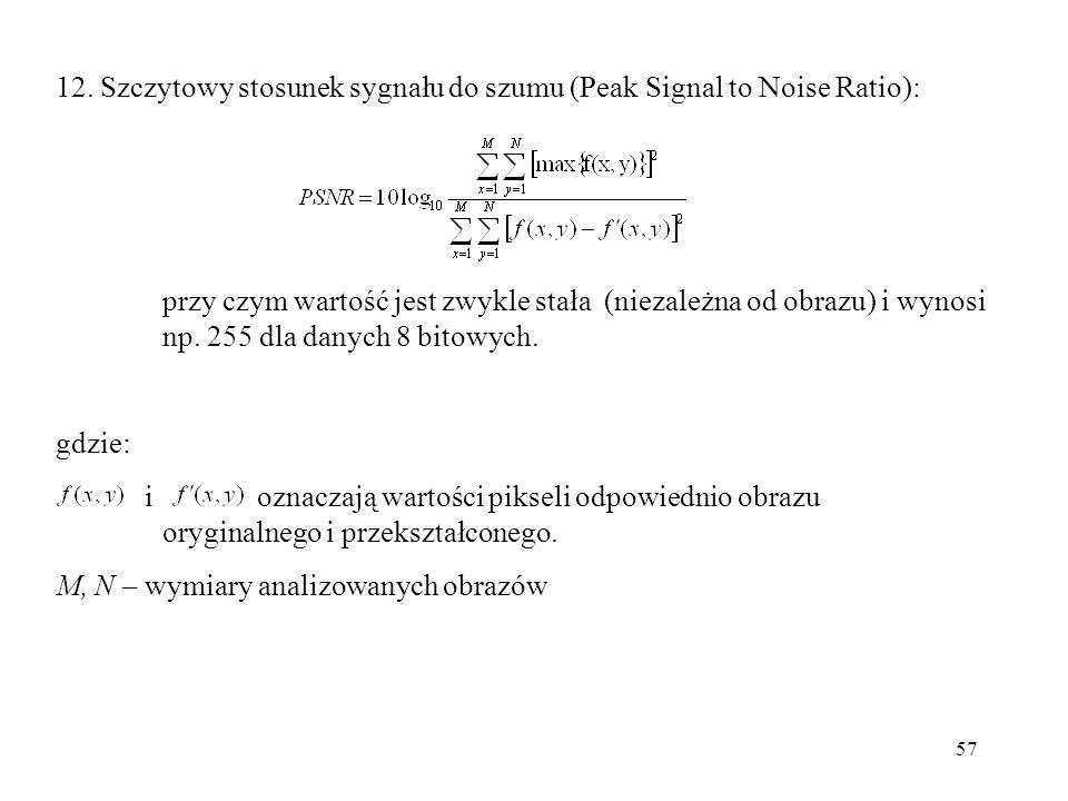 12. Szczytowy stosunek sygnału do szumu (Peak Signal to Noise Ratio):