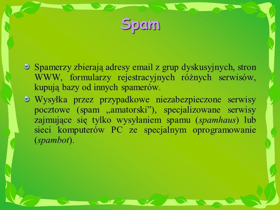 Spam Spamerzy zbierają adresy email z grup dyskusyjnych, stron WWW, formularzy rejestracyjnych różnych serwisów, kupują bazy od innych spamerów.