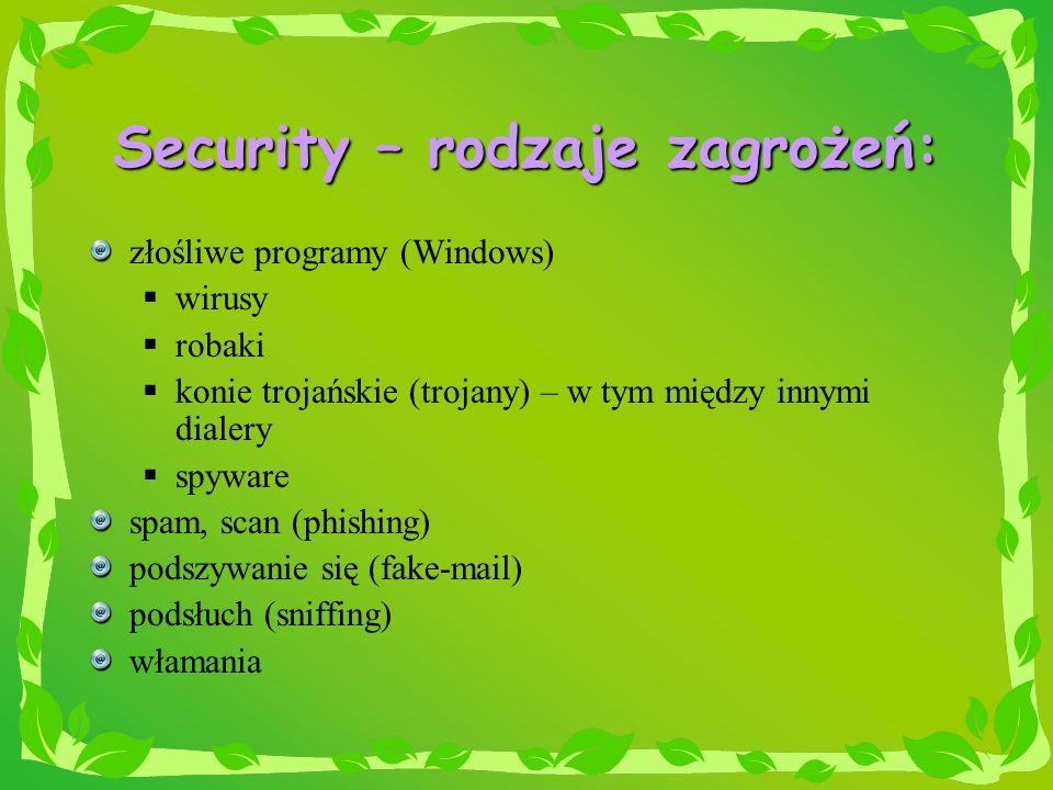 Security – rodzaje zagrożeń: