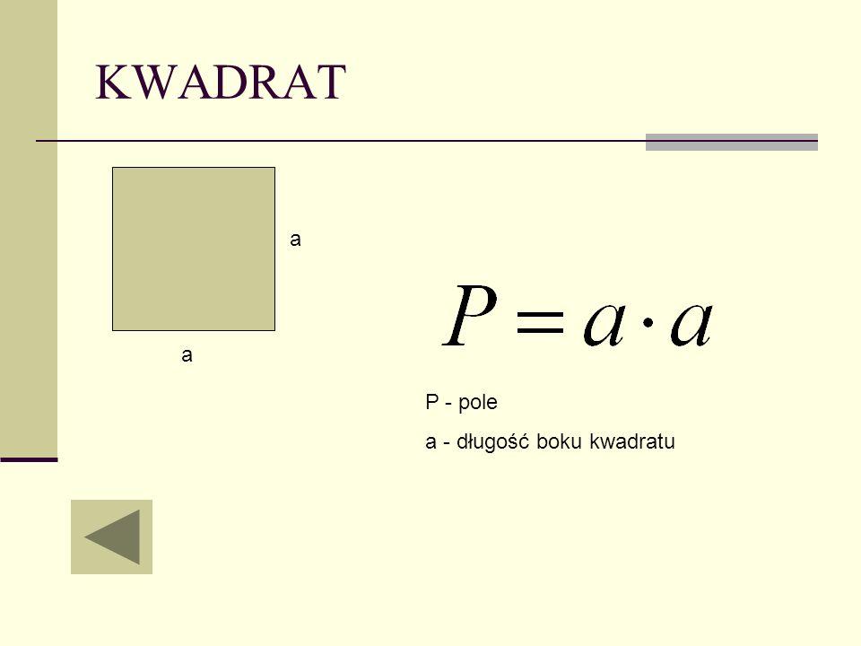 KWADRAT a a P - pole a - długość boku kwadratu