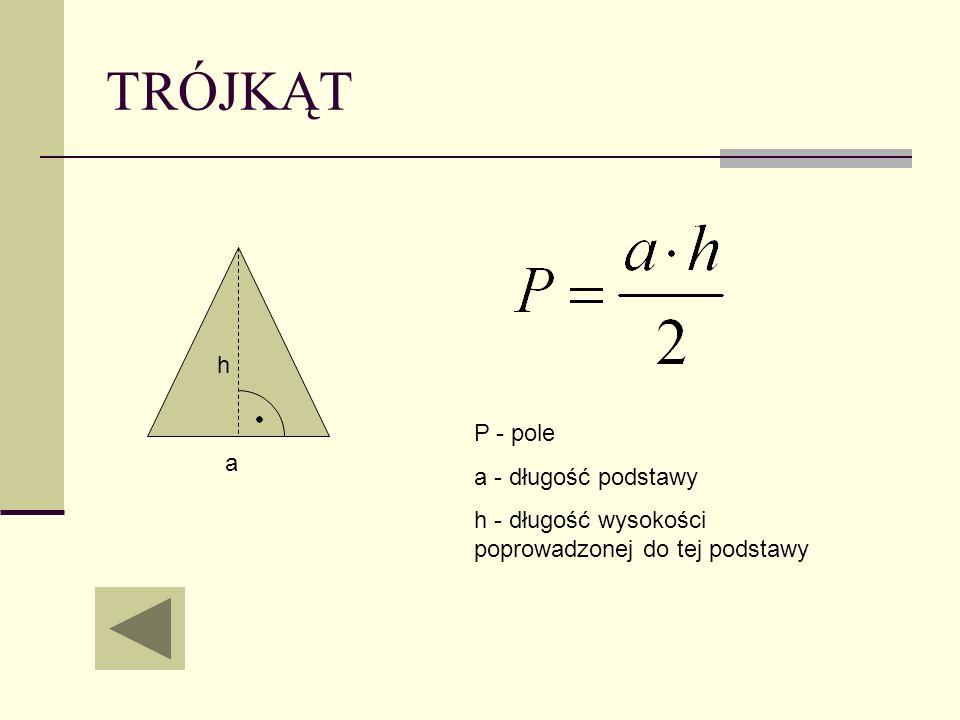 TRÓJKĄT h P - pole a - długość podstawy a