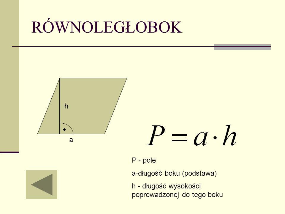 RÓWNOLEGŁOBOK h a P - pole a-długość boku (podstawa)