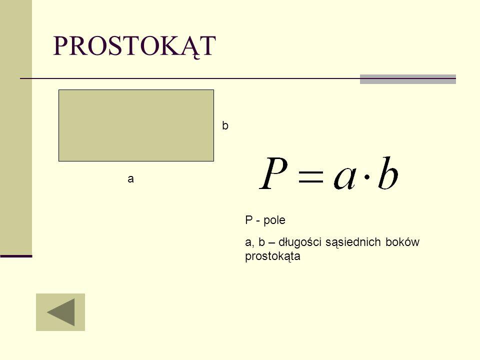 PROSTOKĄT b a P - pole a, b – długości sąsiednich boków prostokąta