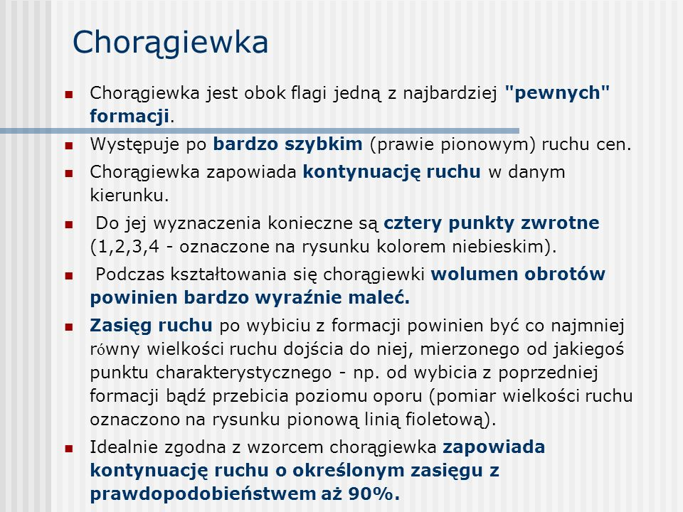 Chorągiewka Chorągiewka jest obok flagi jedną z najbardziej pewnych formacji. Występuje po bardzo szybkim (prawie pionowym) ruchu cen.