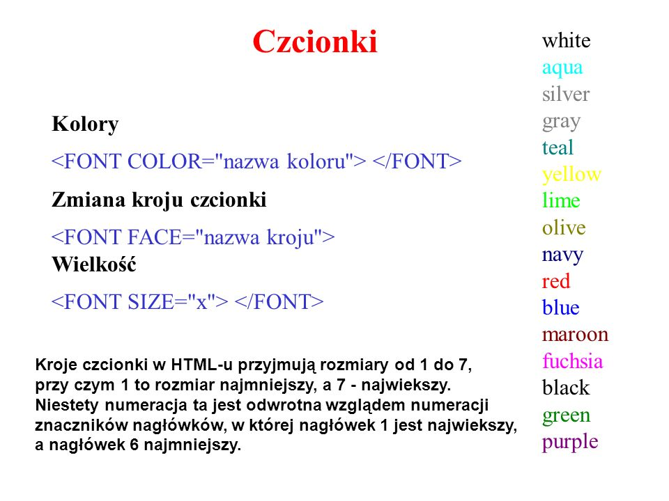 Czcionki white aqua silver gray teal yellow lime olive navy red blue maroon fuchsia black green purple.
