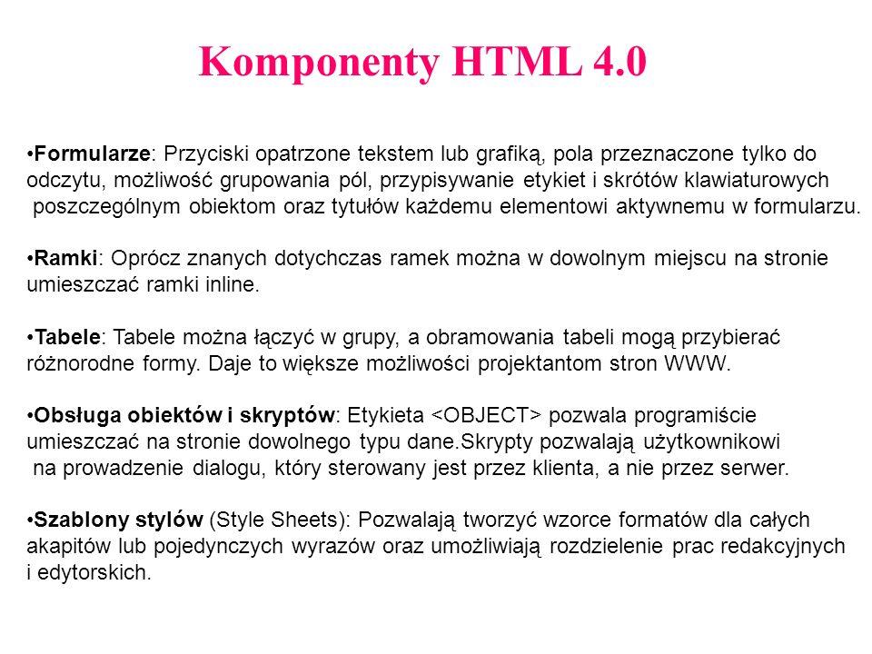 Komponenty HTML 4.0