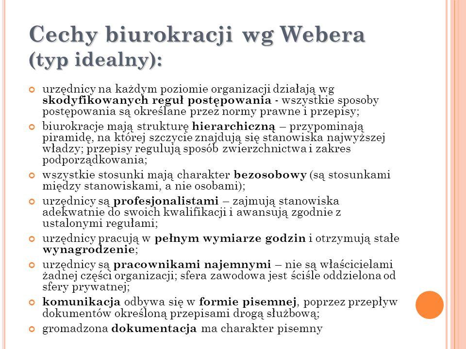Cechy biurokracji wg Webera (typ idealny):