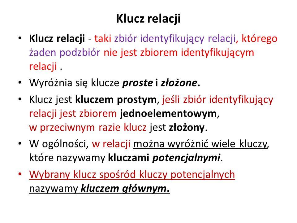Klucz relacji Klucz relacji - taki zbiór identyfikujący relacji, którego żaden podzbiór nie jest zbiorem identyfikującym relacji .