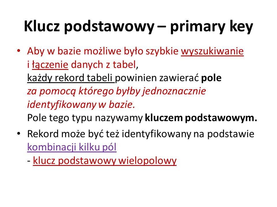 Klucz podstawowy – primary key