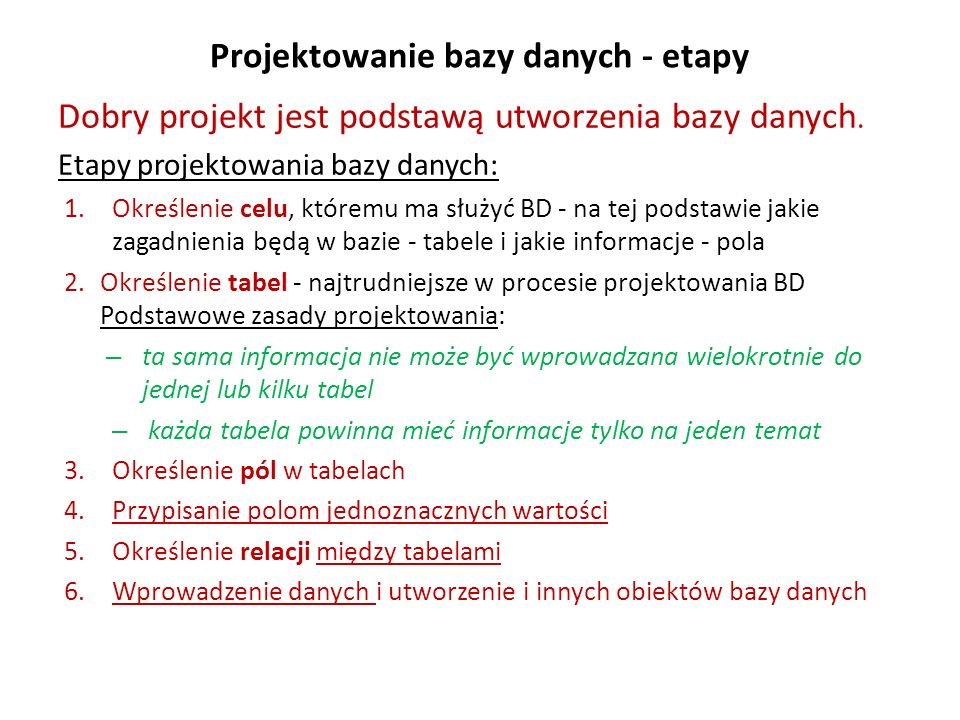 Projektowanie bazy danych - etapy