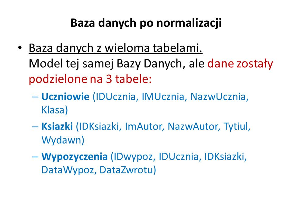 Baza danych po normalizacji