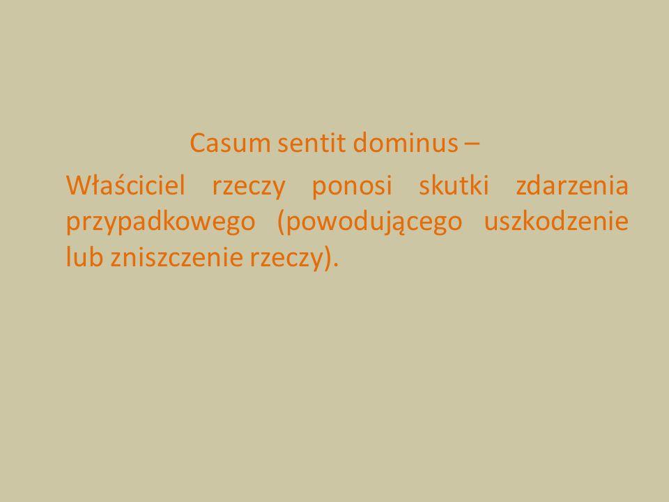 Casum sentit dominus – Właściciel rzeczy ponosi skutki zdarzenia przypadkowego (powodującego uszkodzenie lub zniszczenie rzeczy).