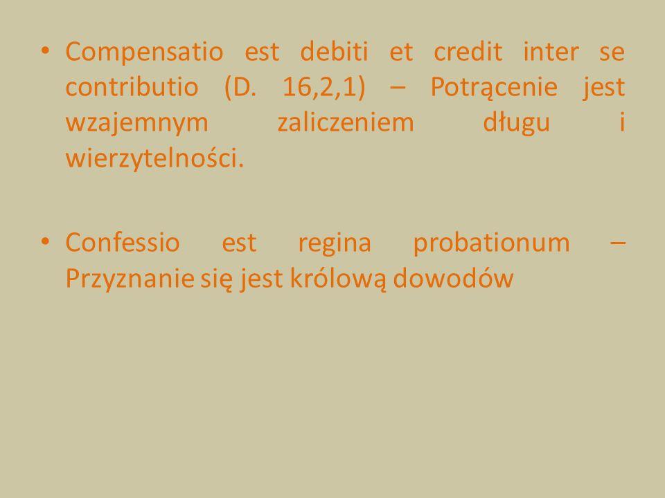 Compensatio est debiti et credit inter se contributio (D