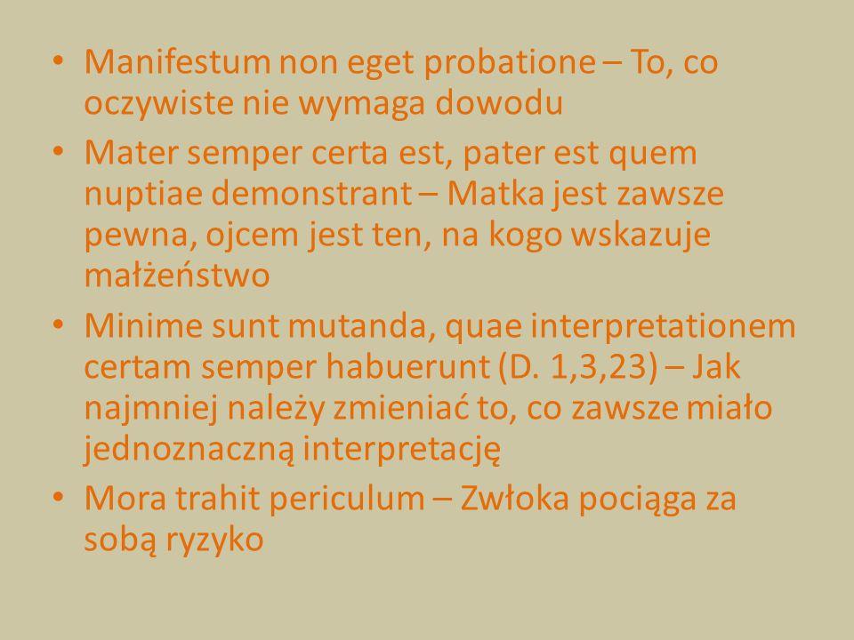 Manifestum non eget probatione – To, co oczywiste nie wymaga dowodu