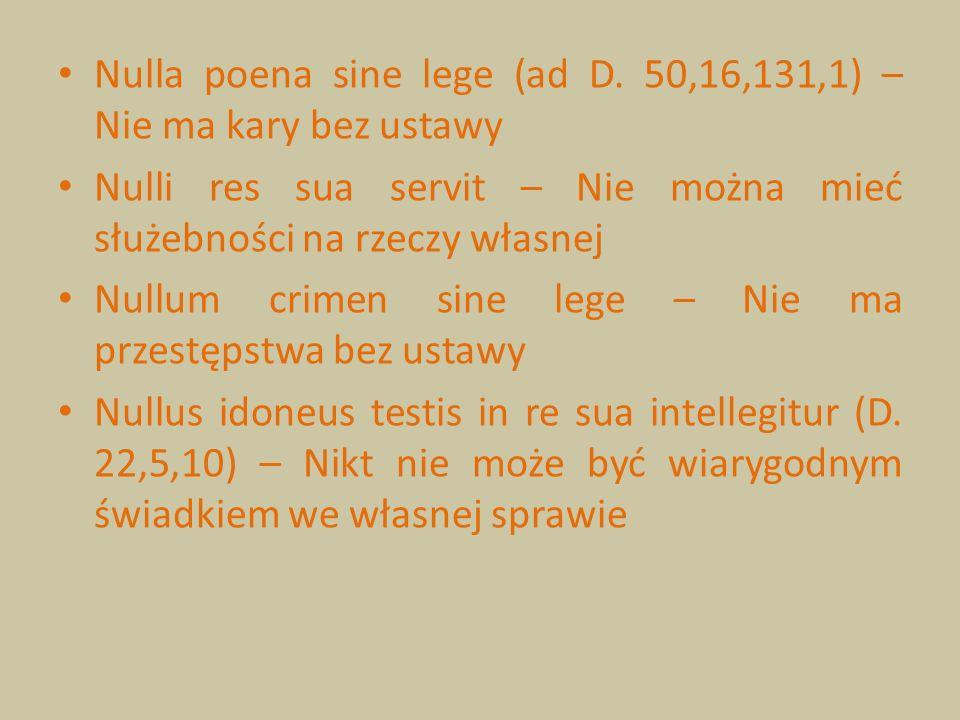 Nulla poena sine lege (ad D. 50,16,131,1) – Nie ma kary bez ustawy