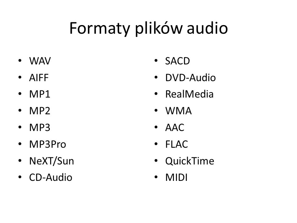 Formaty plików audio WAV AIFF MP1 MP2 MP3 MP3Pro NeXT/Sun CD-Audio