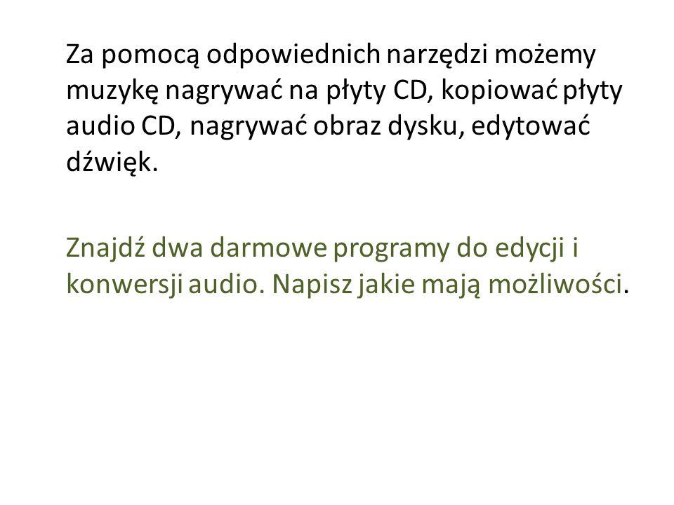 Za pomocą odpowiednich narzędzi możemy muzykę nagrywać na płyty CD, kopiować płyty audio CD, nagrywać obraz dysku, edytować dźwięk.