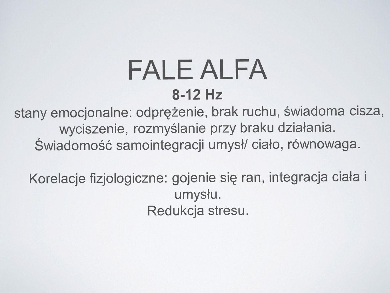 FALE ALFA 8-12 Hz. stany emocjonalne: odprężenie, brak ruchu, świadoma cisza, wyciszenie, rozmyślanie przy braku działania.