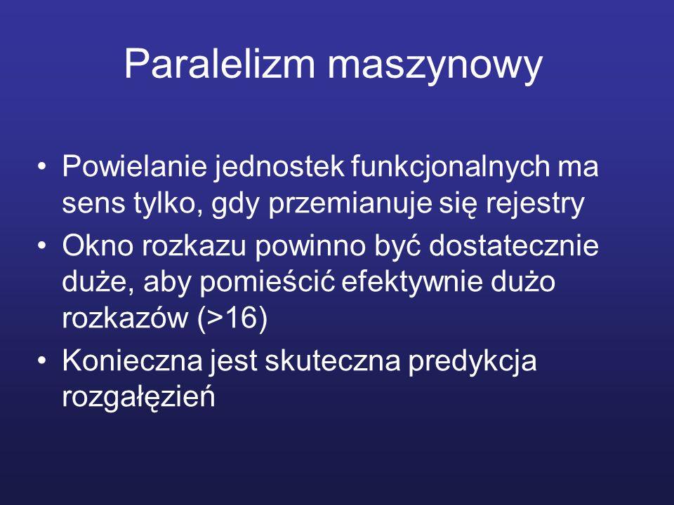 Paralelizm maszynowy Powielanie jednostek funkcjonalnych ma sens tylko, gdy przemianuje się rejestry.