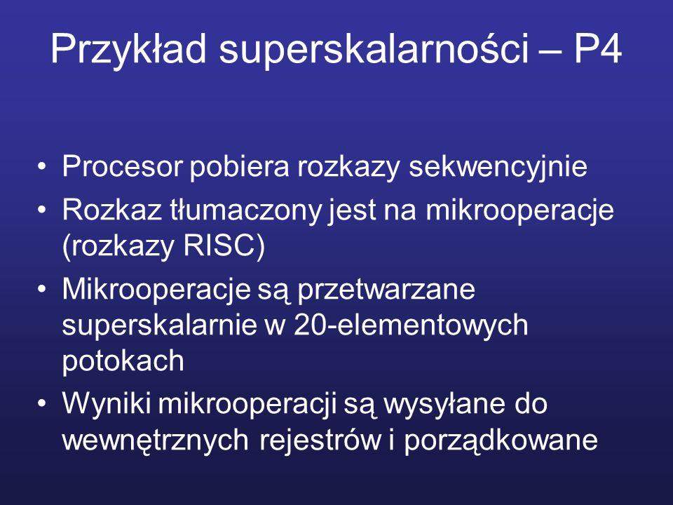 Przykład superskalarności – P4