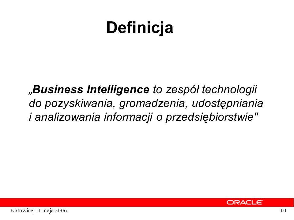 """Definicja""""Business Intelligence to zespół technologii do pozyskiwania, gromadzenia, udostępniania i analizowania informacji o przedsiębiorstwie"""