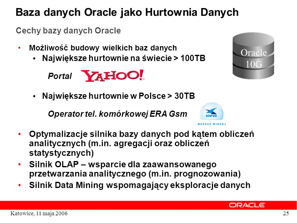 Baza danych Oracle jako Hurtownia Danych