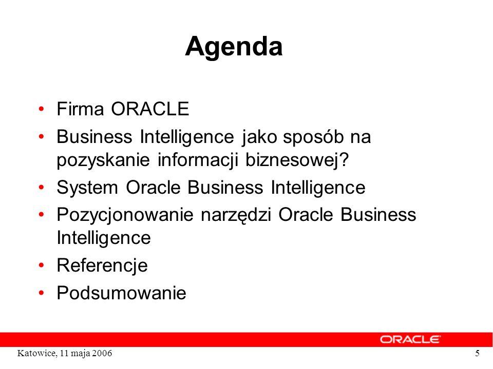 Agenda Firma ORACLE. Business Intelligence jako sposób na pozyskanie informacji biznesowej System Oracle Business Intelligence.