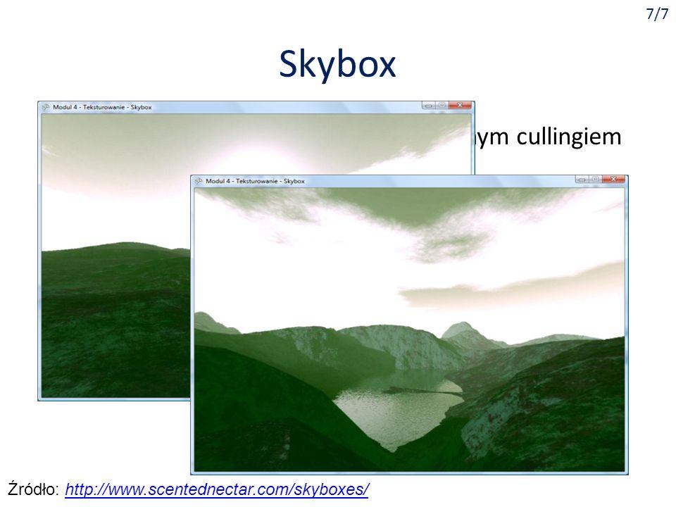 Skybox Sześcian obejmujący kamerę z odwróconym cullingiem