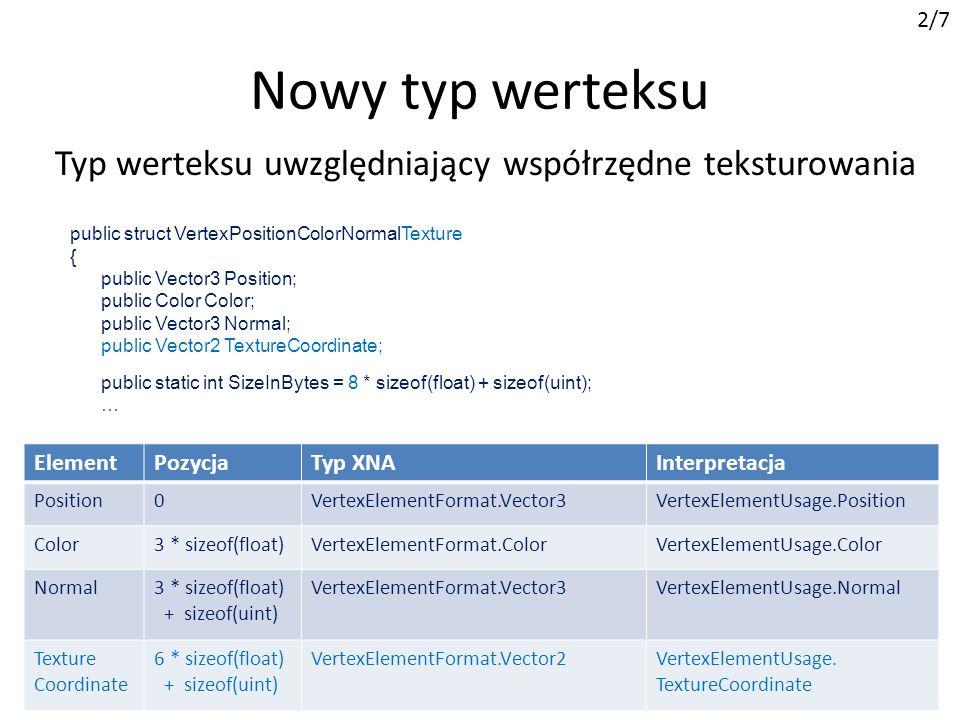 2/7Nowy typ werteksu. Typ werteksu uwzględniający współrzędne teksturowania. public struct VertexPositionColorNormalTexture.