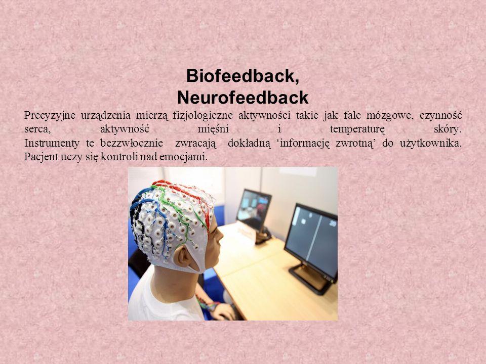 Biofeedback, Neurofeedback Precyzyjne urządzenia mierzą fizjologiczne aktywności takie jak fale mózgowe, czynność serca, aktywność mięśni i temperaturę skóry.