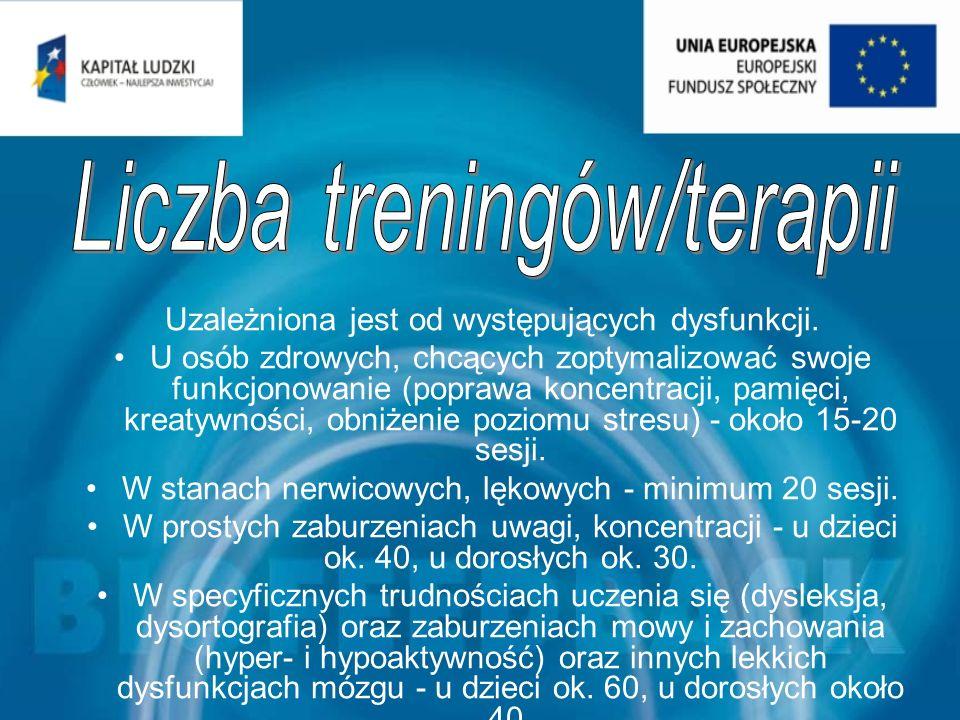 Liczba treningów/terapii