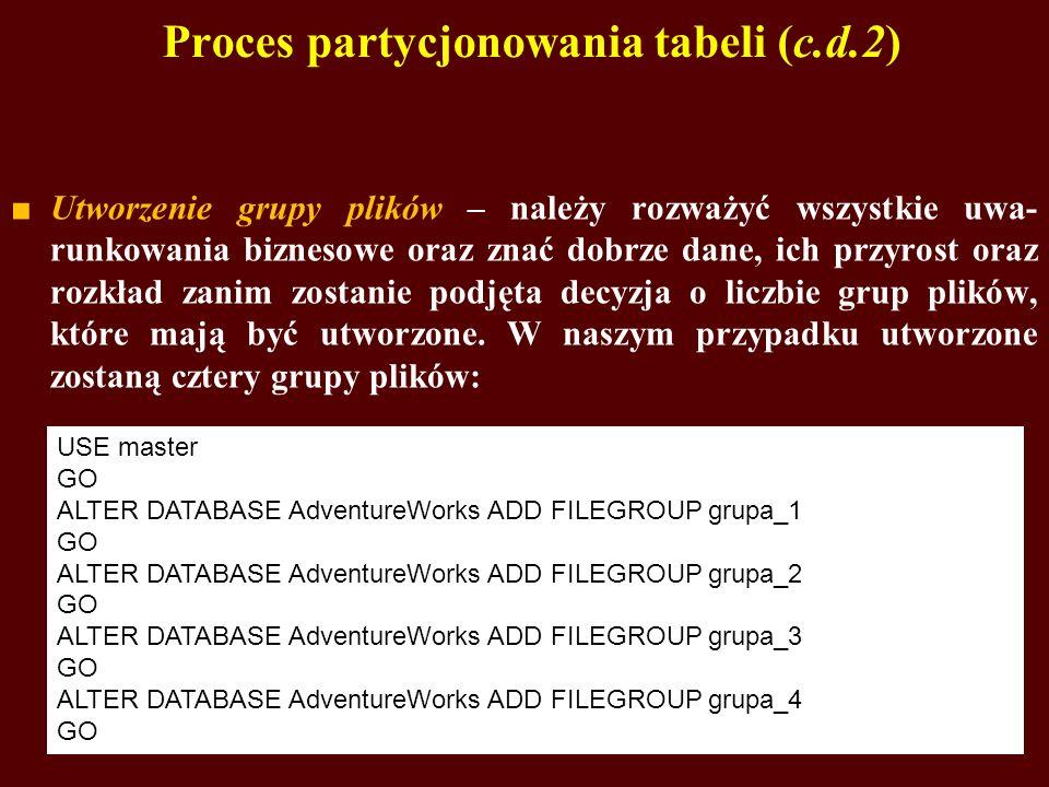 Proces partycjonowania tabeli (c.d.2)