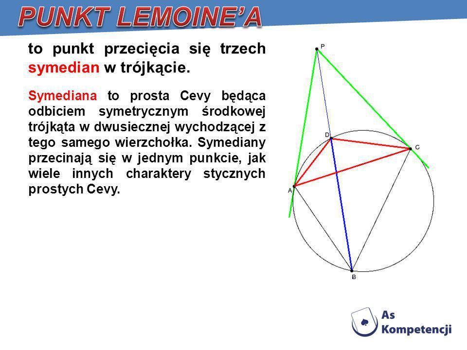 PUNKT LEMOINE'A to punkt przecięcia się trzech symedian w trójkącie.