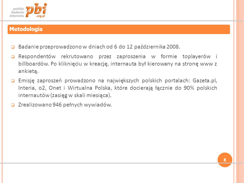 Badanie przeprowadzono w dniach od 6 do 12 października 2008.