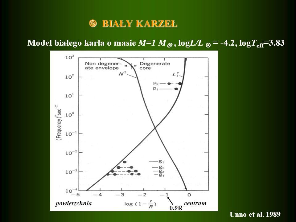  BIAŁY KARZEŁ Model białego karła o masie M=1 M , logL/L  = -4.2, logTeff=3.83. centrum. powierzchnia.