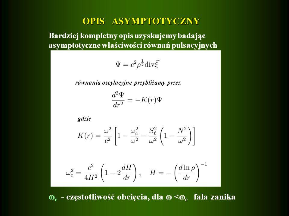 OPIS ASYMPTOTYCZNY Bardziej kompletny opis uzyskujemy badając. asymptotyczne właściwości równań pulsacyjnych.