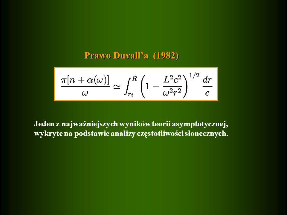 Prawo Duvall'a (1982) Jeden z najważniejszych wyników teorii asymptotycznej, wykryte na podstawie analizy częstotliwości słonecznych.