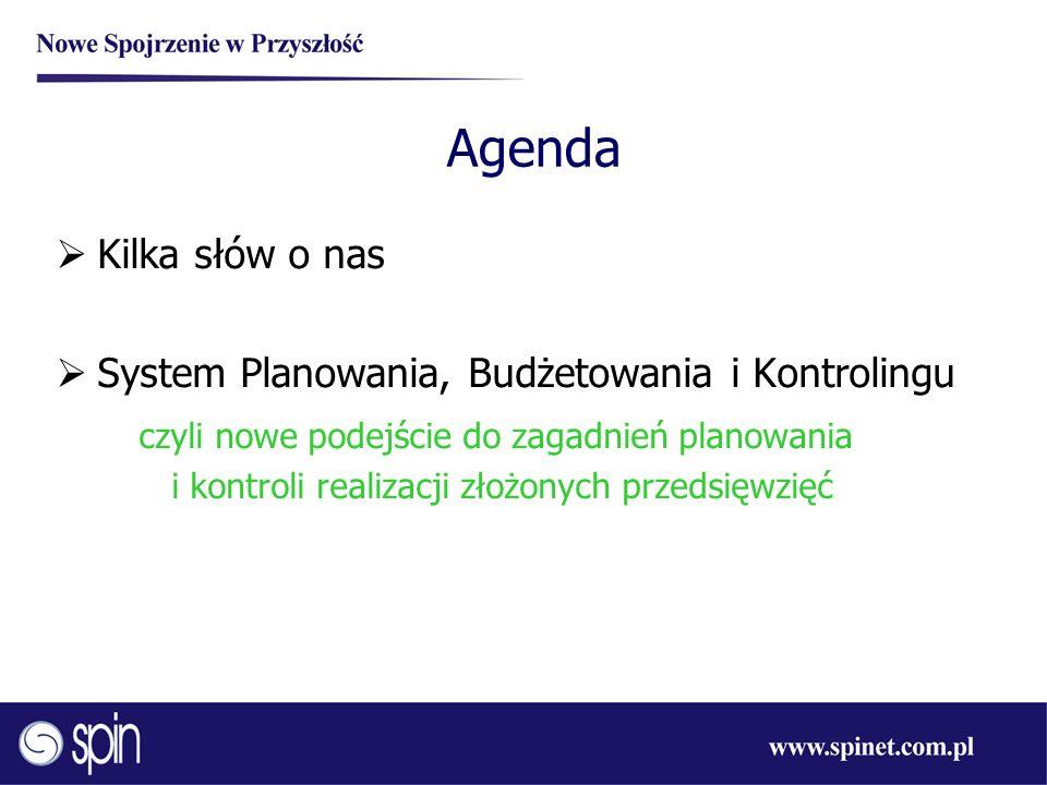 Agenda Kilka słów o nas System Planowania, Budżetowania i Kontrolingu