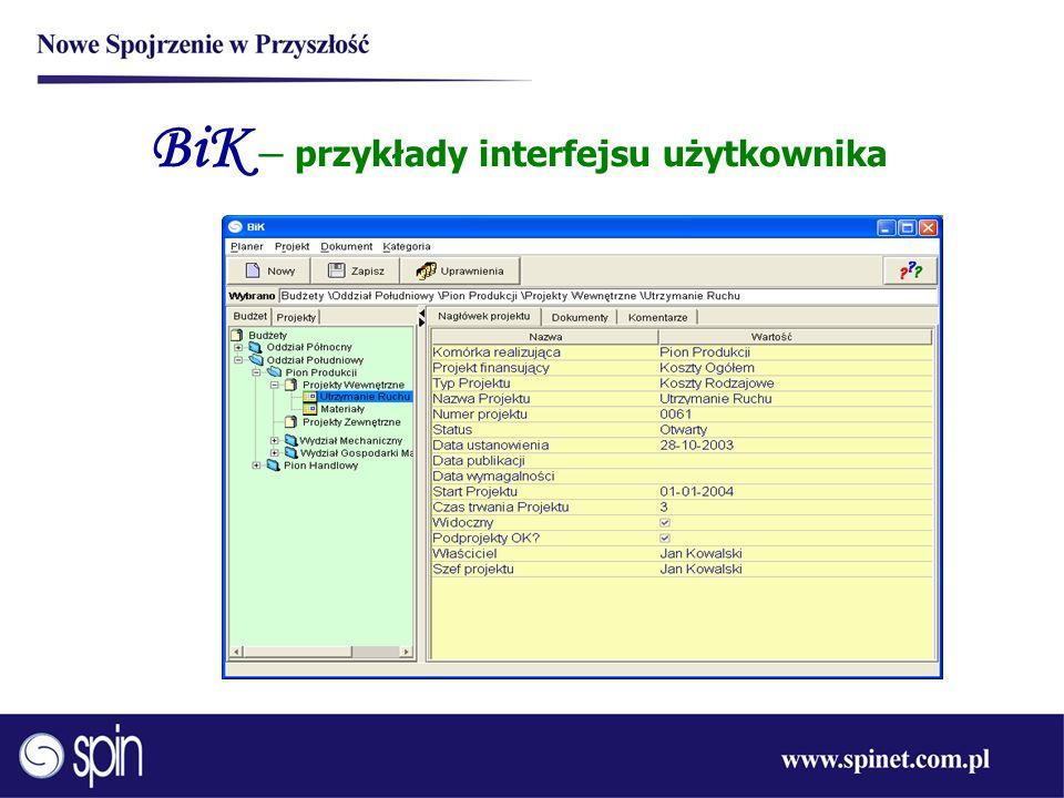 BiK – przykłady interfejsu użytkownika