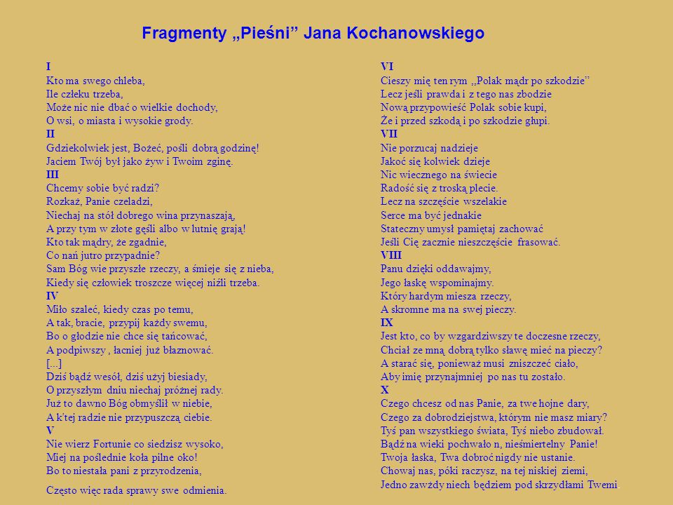 """Fragmenty """"Pieśni Jana Kochanowskiego"""