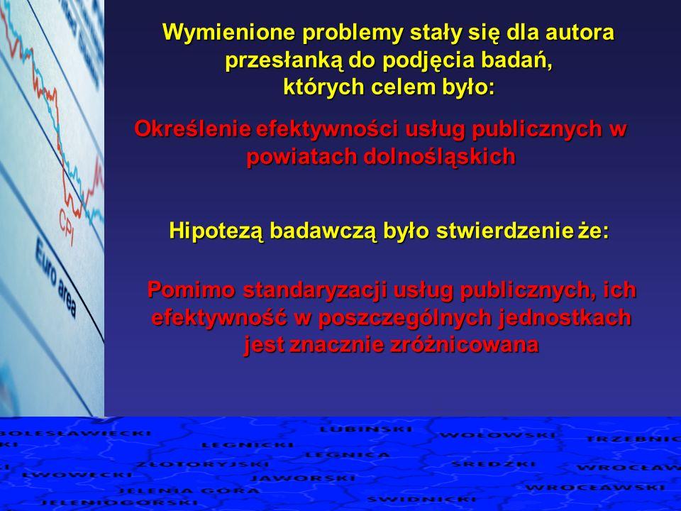 Określenie efektywności usług publicznych w powiatach dolnośląskich