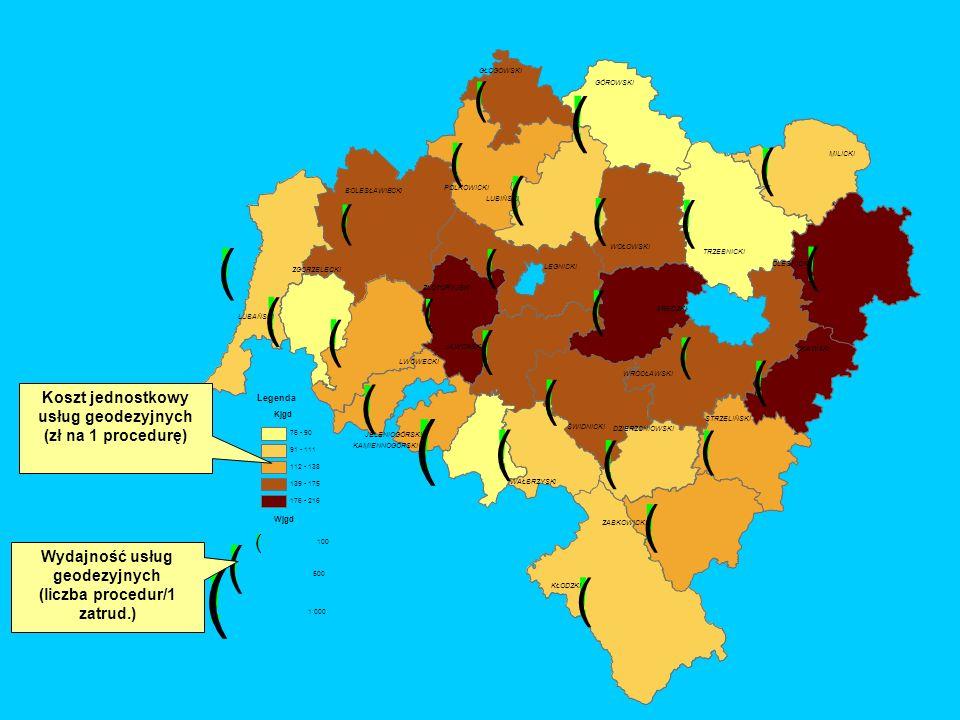 ! ( Koszt jednostkowy usług geodezyjnych (zł na 1 procedurę)