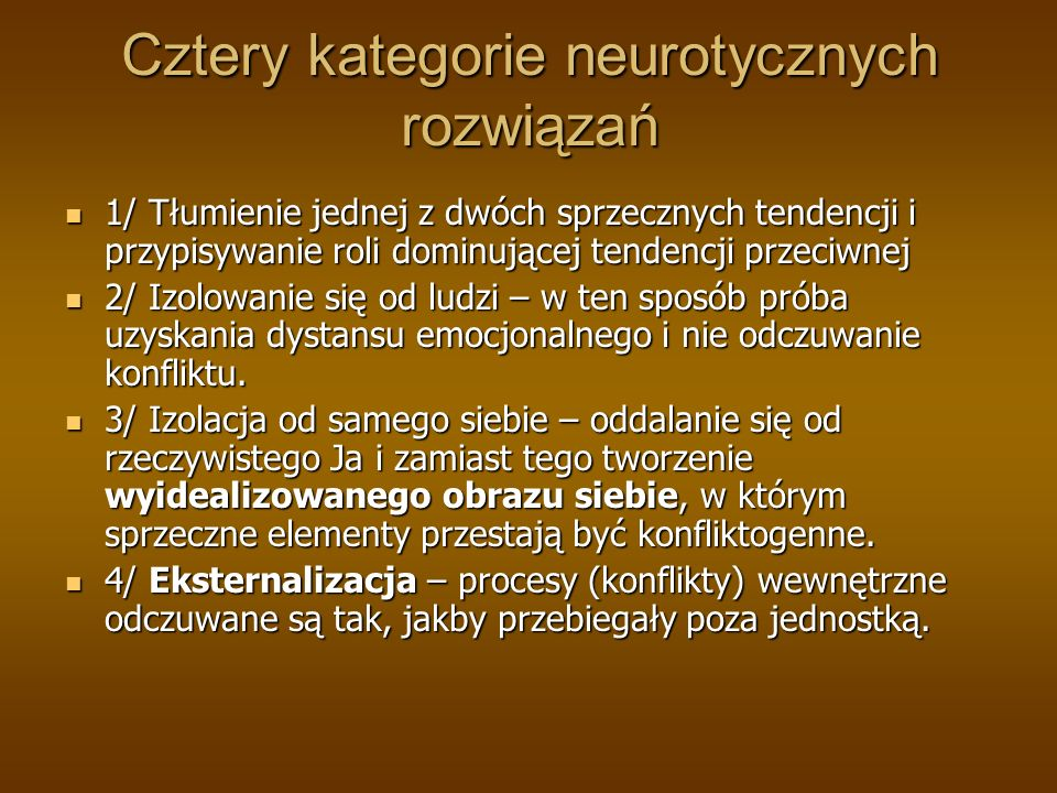 Cztery kategorie neurotycznych rozwiązań