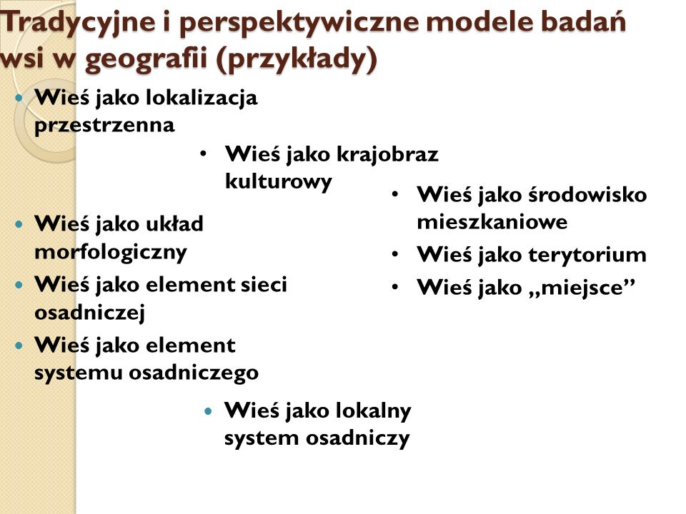 Tradycyjne i perspektywiczne modele badań wsi w geografii (przykłady)